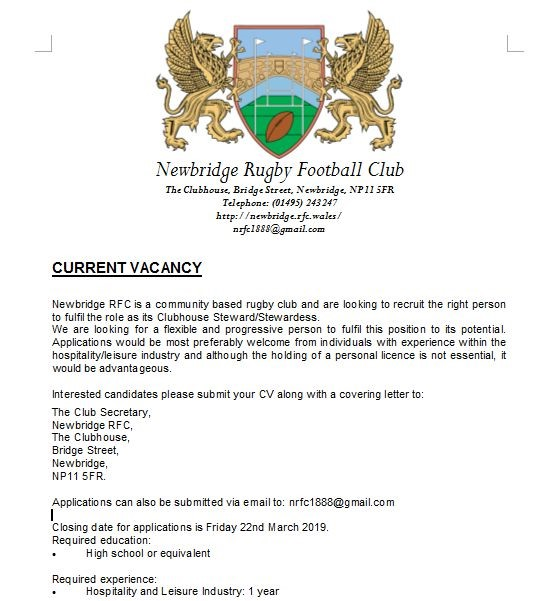 Current Vacancy at Newbridge RFC
